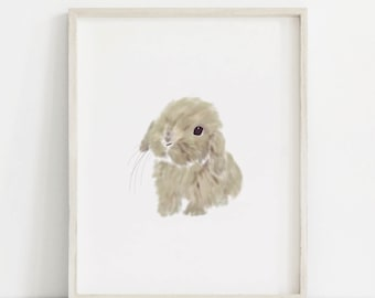 Baby Bunny Art, Nursery Bunny Prints, Bunny Wall Art, Baby Animal Prints, Baby Animal Painting, Bunny Art, Woodland Bunny