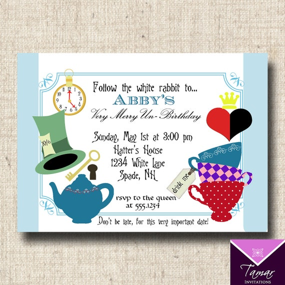 Printable Alice in Wonderland Party Invitations and Labels for