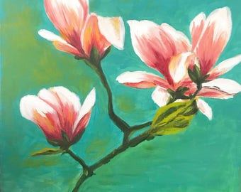 Magnolia Flowers Acrylic Painting | 12x12 | Original Paint on Cotton Canvas | Signed