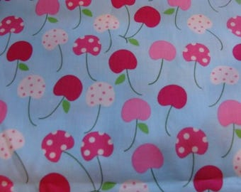 Robert Kaufman Pink and White Cherries on Soft Blue cotton fabric
