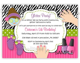 SPA Glitter Manicure Birthday Invitation (Digital File)