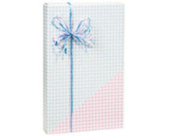 Double Sided Gingham Blue/Pink  Gift Wrap Wrapping Paper-18ft Roll w. 20Gift Tags