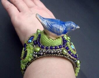 "Bead Embroidery Cuff   ""blue Bird""  Bracelet"
