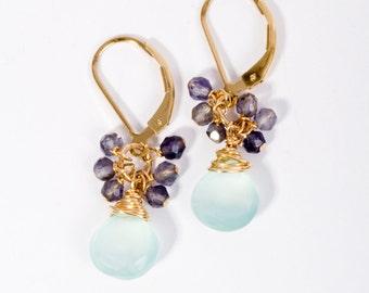 Beaded Earrings, Dangle Earrings,  Cluster Earrings, Turquoise Earrings, Gold Cluster Earrings, Fine Jewelry, Artisan Jewelry, Beach Jewelry