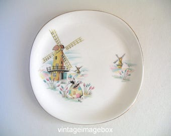 Alfred Meakin Side Plate, Old Dutch Mill, Windmill and Girl, 1950s Vintage Pottery, Mid Century
