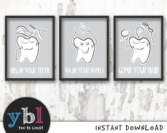 Funny Bathroom Art, bathroom set of 3, kids bathroom art, comb your hear , wash your hands , brush your teeth, funny bathroom decor