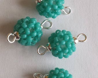 4 beads seed connectors (2mm) turquoise