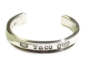 Sterling Silver 1837 Tiffany and Co Bracelet Cuff with Pouch
