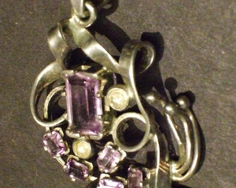 Sterling with amethysts pin 66x40 mm (George 030)