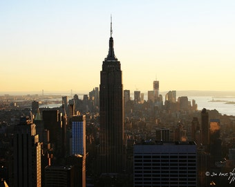 New York Sunset Photo - 8x12 photo of Manhattan - Empire State Building , Statue of Liberty , Brooklyn Bridge