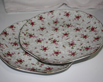 Pair of Napco Rose Chintz Snack Plates, Vintage
