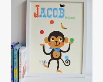 Personalised 'Juggling Monkey' Nursery Name Print, Letter m Print, New baby name Print, New Baby Gift, Kids Print,Nursery Art,circus print