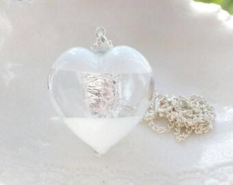 White & Silver Venetian Murano Glass Necklace