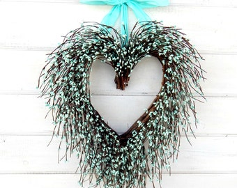 Mothers Day-Mothers Day Wreath-Valentine Wreath-Valentine Home Decor-Wedding Decor-Wedding Wreath-Heart Wreath-Teal Wedding-Wreaths-Weddings