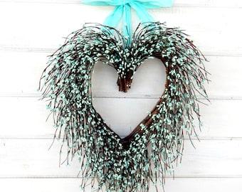 Wedding Decor-Wedding Wreath-Heart Wreath-Teal Wedding-Spring  Wreath-SAY I LOVE YOU-Gift for Mom-Wedding Gift-Heart Wreath-Gift for Mom