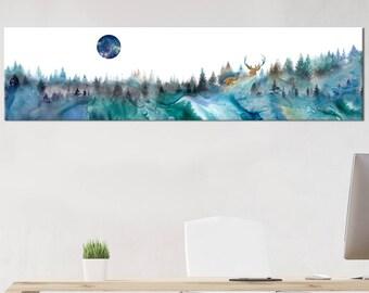 Large wall art print - galaxy moon - large wall art - deer