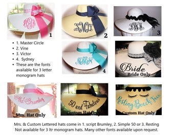 Monograms & Personalization Samples for your Floppy Hats - Mrs, Script fonts, Bridal fonts, Wedding fonts