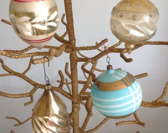 4 Vintage Blown Glass Shaped Christmas Ornaments (0-227)