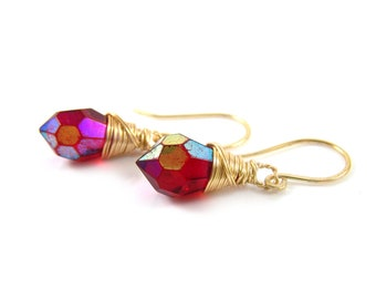 Red Czech Glass Crystal Gold Filled Wire Wrapped Dainty Drop Earrings - Gift for Her