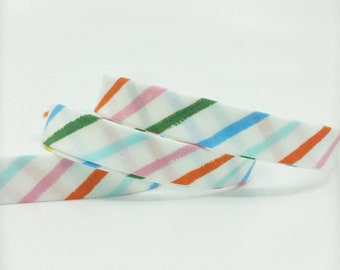 Rifle Paper Bias Tape - 1/2 in Double Fold Bias Tape - 12mm - Quilt Binding - Happy Stripes in Cream - Cotton Lawn - Cotton + Steel Rainbow