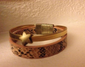 BRACELET 2 ROWS OF FAUX LEATHER