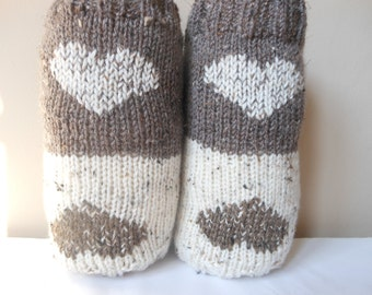 Valentine's Day Gift Hand Knitted Boot Cuffs Leg Warmers 2in1 Cream and Beige Tweed With Hearts