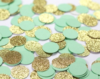Mint and Gold Confetti - Glitter Circle Confetti - Mint Wedding Decorations - Table Scatter