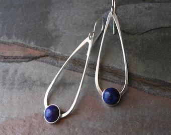 Lapis Lazuli Gemstone Sterling Silver Earrings, Dangle Drop Minimalist Teardrop 8mm Round Cabochon Modern Modernist Midnight Blue