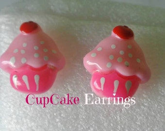 Cupcake Earrings Stud Pink  Kawaii Miniature