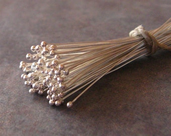 10 Bali Sterling Silver 26 gauge Headpins with Ball - 40mm