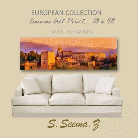 ALHAMBRA-SPAIN- 48x18, Landscape,Orange, Spain, Granada, European, Purple, Ethnic Wall Art, Living Room, Seema Z