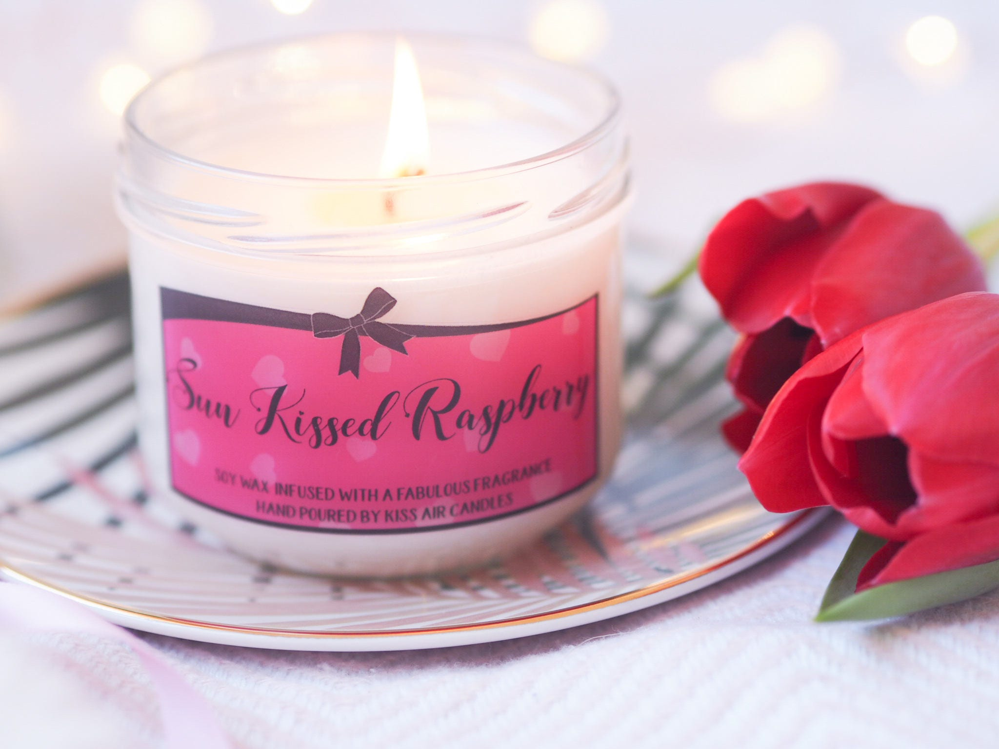 Raspberry candle fruity candle spring candle scented