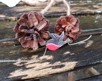 Robin pendant, robin necklace, christmas robin, silver necklace, festive jewellery
