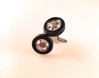 Tire Cuff Links, On the Road Cuff Links Cuff Links, Men's Cuff Links, Wedding Cuff Links, Father's Day