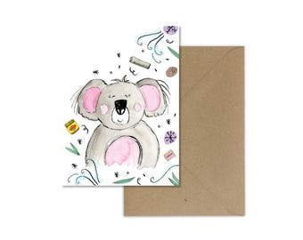 Koala Bear//Koala Card//Australian Card//Aussie Greeting Card//Australiana//Vegemite Art//Iced Vovo//Aussie Christmas Card//Koala Art//