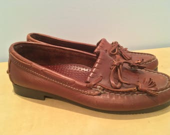 Vintage Brown Leather Dexter Loafers - Women's Size 7.5, Made in USA