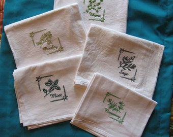Machine Embroidered Flour Sack Herb Dish Towels