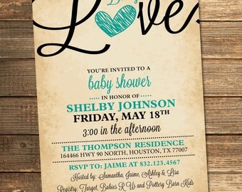 Baby Love Invitation, Baby Shower, Baby Girl, Baby Boy, Teal, Black, Heart, Rustic, Vintage (PRINTABLE FILE)