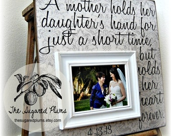 Thank You Mother of the Bride Gift, Personalized Picture Frame, A Mother Holds Her Daughters Hand, 16x16 The Sugared Plums Frames