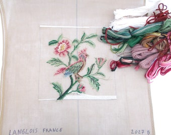 French Tramé Needlepoint Tapestry of A Bird and Flowers. Includes Wool. Trammed Needlepoint Pre-worked Canvas By Langlois France. (6553)
