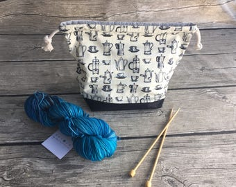 But First, Coffee - Project Bag -- Drawstring Knitting Bag -- Yarn Bag -- Crochet Bag