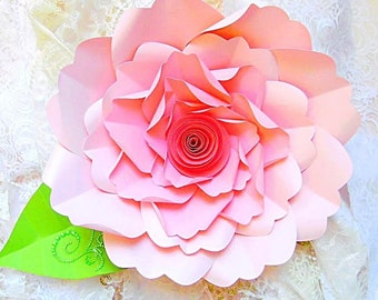 DIY Large Paper Flower Tutorial with templates &  Rosette Paper flower, Backdrop Giant Flowers, SVG cut files, Large paper flowers