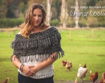 Crochet Shawl Pattern: 'Fringed Infinity Shawl', Crochet Poncho, Boot Cuffs, Boho Fashion, Easy Crochet