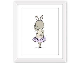 Girl Nursery Art -- Bunny Ballerina -- Bunny Nursery Art -- Children Art -- Kids Wall Art -- Ballerina Nursery Art