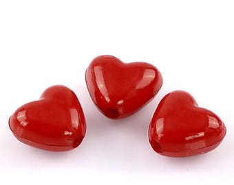 Set of 10 Red 11x10mm heart acrylic beads