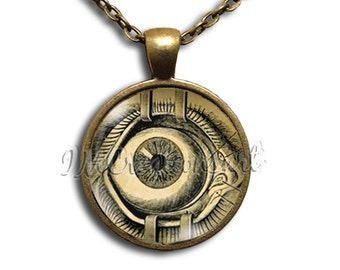 Gothic Anatomy Eye Glass Dome Pendant or with Chain Link Necklace SM106