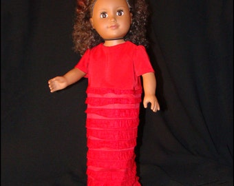 "Prom Dress for American Girl Style 18"" Dolls! Red Ruffle Evening Gown, Maxi Dress, Full Length, Pencil Line, Formal Style Doll Clothes."