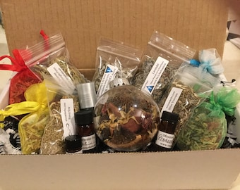 6 Month Subscription Box with 1 oz 100% Pure & Natural Essential Oils (Neat/Undiluted) and Herbs, witchcraft supplies, herbs box, gift box,