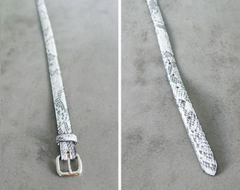 Vintage Snakeskin Leather Belt ⋆ THE LIMITED ⋆ Black/Grey ⋆ Large Belt ⋆ Genuine Leather ⋆ Skinny Belt Thin Belt Streetwear Fashion