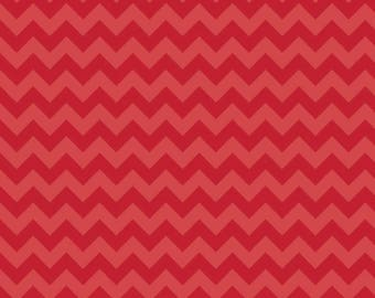 Small Tone on Tone Red Chevron from Riley Blake, C400-81 RED, Cotton, Choose the Cut!
